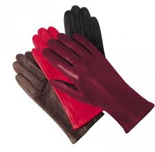 las leather fleece lined gloves berry red black brown