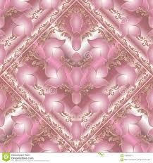 Bloemen Barok Naadloos Patroon Vector Roze Achtergrond Met 3d Vector