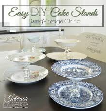 easy diy cake stands using four styles of vintage china