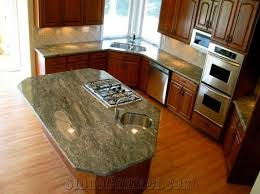 waterfall green granite countertop island