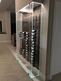 Glass Wine Room Design Under Stairs Frameless Glass Win E Enclosure Vintage View