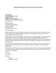 Cover Letter Design Front Sample Cover Letter For Receptionist