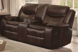homelegance bastrop double glider reclining loveseat with center console in dark brown 8230brw 2