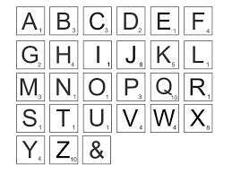 letters and values for tiles