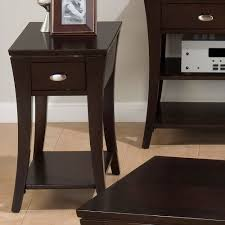 furniture leick chairside lamp table with drawer um oak wedge end storage cappuccino wood drawers