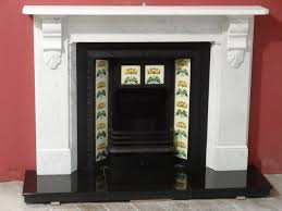 antique victorian white carrara marble fireplace surround