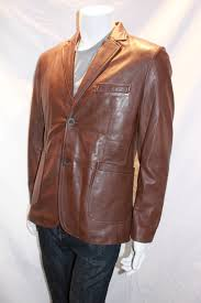 men s leather blazer with patch pockets available in black and brown