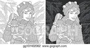 Vector Illustration Coloring Pages With Winter Girl Eps Clipart