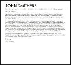 Community Health Worker Cover Letter Public Nurse Sample Templates
