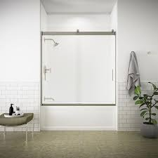 kohler levity 56 625 in to 59 625 in w frameless matte nickel bypass sliding bathtub door