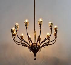 vintage italian brass chandelier from lumi milano 21