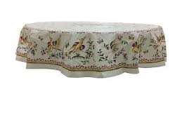 french provencal coated cotton tablecloth moustiers birds flowers pink round 71