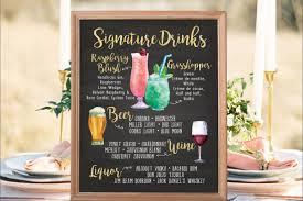 wedding drink menu. Digital Printable Wedding Menu Sign Watercolor Wedding Bar Menu