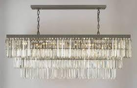 retro odeon glass fringe rectangular chandelier chandeliers lighting