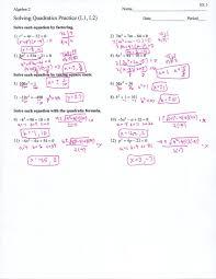 solving using the quadratic formula worksheets worksheet equations by factoring