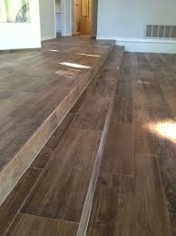 porcelain wood look ceramic tile on the stairs all flooring install wood look porcelain tile long steps
