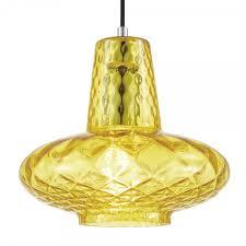 cult living monroe glass pendant light yellow