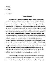 Paragraph Essay On To Kill A Mockingbird To kill a mockingbird literary essay Marked by Teachers Document image  preview