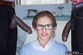 Blacked Teen Natasha White Threesome with Two Monster Dicks.