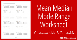 Mean Median Mode Range Worksheet | STEM Sheets