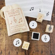 Musical Notes Rubber Stamp Teacher Gift Set By Skull And Cross Buns