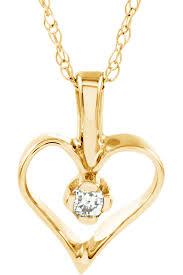petite 14k yellow gold diamond heart necklace