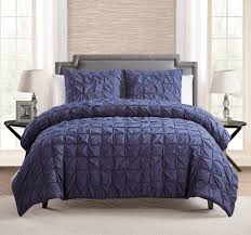 100 cotton 3 piece solid navy blue pinch pleat duvet cover set king size bedding