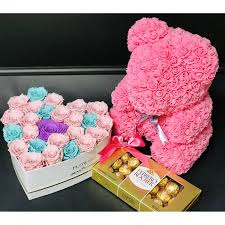 Pastel Heart, Rose bear and Candy Combo | NE Flower Boutique