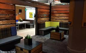 twitter doubles silicon valley office. brilliant doubles decked out the interior of the cabin features seating for workers to eat  lunch and in twitter doubles silicon valley office e