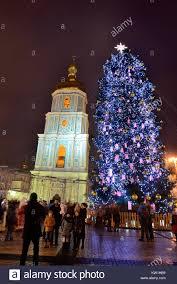 Bell Tower Tree Lighting Kyiv Ukraine December 28 The Group Of People Makes Photo