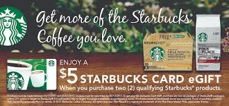 starbucks canada free 5 gift card with purchase