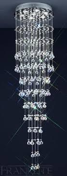 long drop lighting. constellation 7 light long drop lead crystal cascade ceiling franklite lighting r