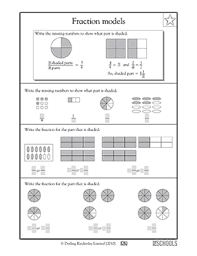 3rd grade, 4th grade Math Worksheets: Fraction models | GreatSchoolsSkills. Fractions of shapes, Identifying fractions. Common Core Standards: Grade ...