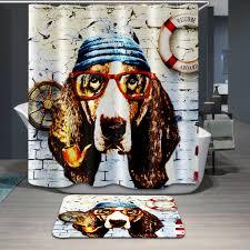 punk style cartoon puppy dog captain design bathroom waterproof fabric custom shower curtain with 12 hooks