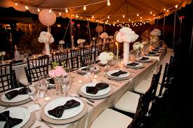 Appealing Great Gatsby Party Decorations With Chairs And Longitudinal Table  Completed With Plates And Cups Also