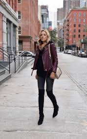 lisa d cahue demonstrates yet another way to style the leather jacket trend with a