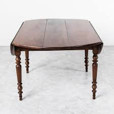louis philippe solid walnut round dining table with turned fluted legs