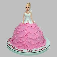 Cakes White N Pink Barbie Cake 2kg Ferns N Petals