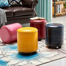 details about round ottoman pouffe footstool dressing table makeup seat stool faux leather