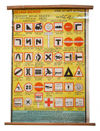 Indian Educational Chart Road Signs Vintage Scroll