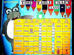 Timetable Chart Ideas Time Table Chart Art By Helmap Classroom Charts