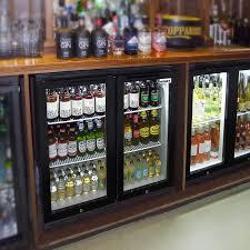 husky double glass door bar fridge in black lifestyle 2