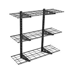 ws13 3 tier storage wall shelves black