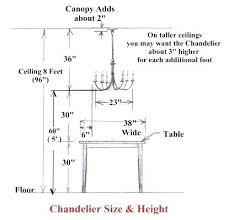 chandeliers height from table chandelier hanging height chandelier height above