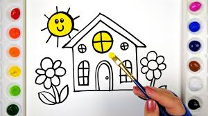 House Coloring Pages For Kids Drawing Colouring Painting A