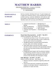 Unifirst Corporation Route Sales Representative Resume Sample