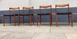 teak black leather dining chairs by h w klein for bramin 1960s set of