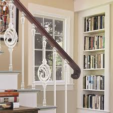 European interior design showily aluminum stair railing, pearl white ...