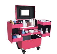 pink cosmetic train box makeup artist case locking rolling organizer trolley box key