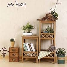 dhmhjh flower stand fashion simple square corner shelf wooden 3 layer balcony living room indoor and